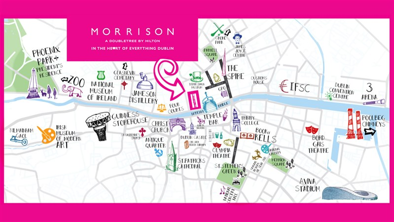 Dublin city map hotels in dublin 1 morrison hotel for Site location hotel