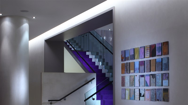 lobby staircase and art blocks